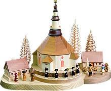 Christmas hill seiffen church, illuminated