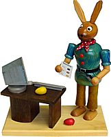 Easter Bunny at the Computer