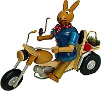 smoking Easter Bunny on the motorcycle Nature