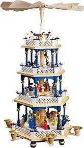 Christmas Pyramid Nativity, 3-storey, blue