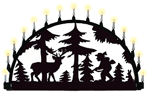 outdoor candle arch, hunter and deer