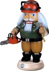 nutcracker forest worker with chainsaw