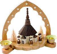 candle holder seiffen curch with carolers